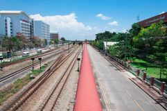 Bird eye Railway nearby Building with blue sky royalty free stock images