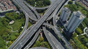 Bird eye`s view on major interchange in Shanghai on a sunny day Royalty Free Stock Photography