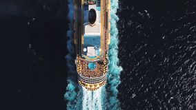 Free Bird Eye Top View Of Large Cruiser Ship In Deep Blue Water In A Sunny Day, Luxury Concept. Stock. Aerial View Of Luxury Royalty Free Stock Images - 146269589