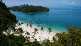 Bird eye view of Angthong national marine park, koh Samui, Thailand stock video