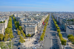 Bird eye view from Arc de Triomphe Paris. PARIS FRANCE OCT 16: Bird eye view from Arc de Triomphe Paris has a population of 2,249,975 inhabitants but its Stock Photos