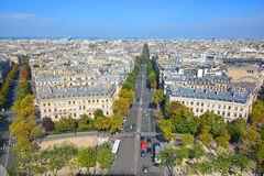 Bird eye view from Arc de Triomphe Paris. PARIS FRANCE OCT 16: Bird eye view from Arc de Triomphe Paris has a population of 2,249,975 inhabitants but its Royalty Free Stock Images