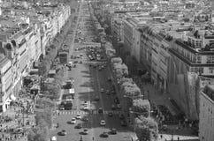 Bird eye view from Arc de Triomphe Paris. PARIS FRANCE OCT 16: Bird eye view from Arc de Triomphe Paris has a population of 2,249,975 inhabitants but its Stock Images