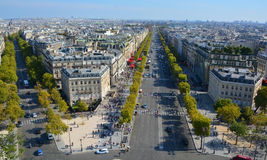 Bird eye view from Arc de Triomphe Paris Royalty Free Stock Image