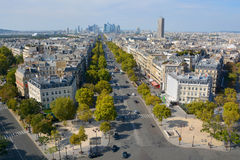 Bird eye view from Arc de Triomphe Paris Stock Image