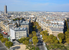 Bird eye view from Arc de Triomphe Paris Stock Images