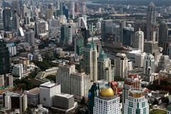 Bird eye view of Bangkok buildings Royalty Free Stock Images