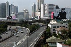 Bird eye view of Bangkok roads Royalty Free Stock Photo