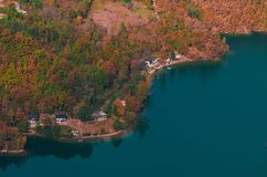 Bird eye view of a mountain lake in the fall scenery royalty free stock images