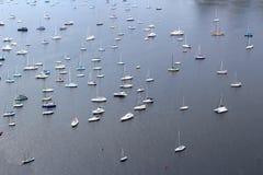 Bird eye view of boats in Rio de Janeiro, Brazil, South America. Bird eye view of sailboats and yachts anchored on the bay in Rio de Janeiro, Brazil, South royalty free stock photos