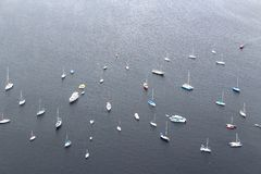 Bird eye view of boats in Rio de Janeiro, Brazil, South America. Bird eye view of sailboats and yachts anchored on the bay in Rio de Janeiro, Brazil, South stock photo