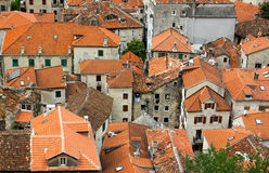Bird eye view of buildings in Kotor, Montenegro Royalty Free Stock Photos