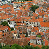 Bird eye view of buildings in Kotor, Montenegro Royalty Free Stock Image