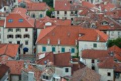 Bird eye view of buildings in Kotor old town, Montenegro Royalty Free Stock Photo