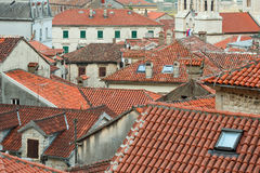 Bird eye view of buildings in Kotor old town, Montenegro Royalty Free Stock Photography