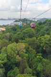 Bird eye view of cable car over green park Royalty Free Stock Images