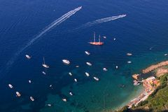 Bird-eye view of the Capri Stock Photography