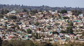 Bird eye view of city of Jugol. Harar. Ethiopia. Royalty Free Stock Images