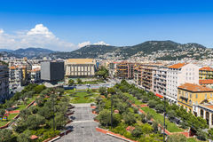Bird-eye view of colorful historical houses in Nice city, France Stock Images