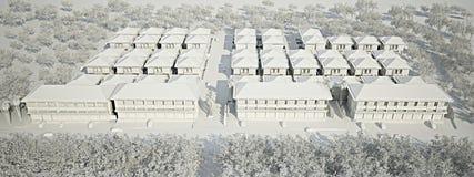 Bird eye view of comunity residence. 3d render Stock Photo