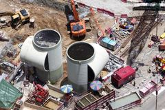 A bird eye view of a construction site in Hong Kong, China. / Royalty Free Stock Photos