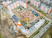 Bird eye view on construction site in Tyumen Stock Photography