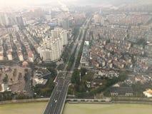 Bird eye view from Dongwu New Century Grand Hotel in Huzhou/China. HUZHOU, ZHEJIANG, CHINA - NOVEMBER 20 : Morning bird eye view from Dongwu New Century Grand royalty free stock photo