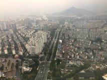 Bird eye view from Dongwu New Century Grand Hotel in Huzhou/China. HUZHOU, ZHEJIANG, CHINA - NOVEMBER 20 : Morning bird eye view from Dongwu New Century Grand stock photography