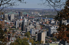 Bird eye view of downtown Montreal stock photos
