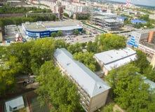 Bird eye view on Energetikov street. Tyumen Stock Photo