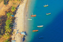 Bird eye view with fishing thai boats Royalty Free Stock Photo