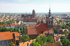 Bird eye view of Gdansk city centre, Poland Stock Image