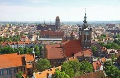 Bird eye view of Gdansk city centre, Poland. Bird eye view of St. Catherine Church, St. Mary Church and roofs of Gdansk city centre, Poland Stock Image