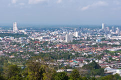 Bird eye view of Hadyai city. From view point, southern thailand Royalty Free Stock Photos