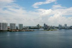 Bird-eye view of intercoastal, Sunny Isles Beach Royalty Free Stock Image
