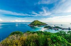 Bird eye view of Koh Nangyuan in Thailand Royalty Free Stock Photos