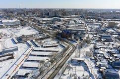 Bird eye view on 30 Let Pobedy street. Tyumen. Russia Stock Photos