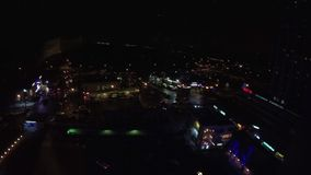 Bird eye view on lights of night city Moscow stock video