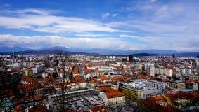 Bird eye view of Ljubljana old town city in Slovenia Royalty Free Stock Photos