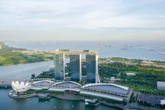 Bird-eye view on Marina Bay Sands in Singapore