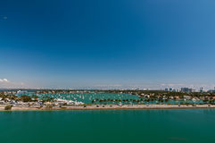Bird-eye view of Miami MacArthur causeway Royalty Free Stock Photography