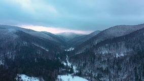 Bird Eye View of Mountains Covered with Snow. In Winter stock video