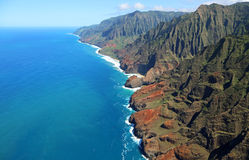 Bird-eye view at Na Pali coast Stock Image