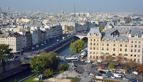 Bird eye view from Notre Dame of Paris Royalty Free Stock Photo