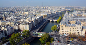Bird eye view from Notre Dame of Paris Royalty Free Stock Images