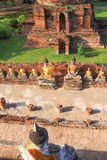 Bird eye view of old buddha in Ayutthaya,Thailand Royalty Free Stock Photography
