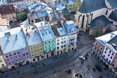 Bird eye view of the old city of Lviv Royalty Free Stock Image