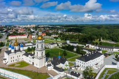 Bird eye view onto Tobolsk Kremlin at summer time. Tobolsk, Russia - July 15, 2016: Aerial view onto Tobolsk Kremlin with St. Sophia-Assumption Cathedral and Royalty Free Stock Photography