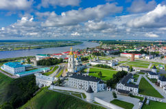 Bird eye view onto Tobolsk Kremlin at summer time. Tobolsk, Russia - July 15, 2016: Aerial view onto Tobolsk Kremlin with St. Sophia-Assumption Cathedral and Stock Images
