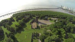 Bird eye view of Panama Viejo Ruins stock video